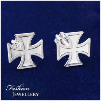 Stříbrné náušnice s maltézským křížem (KM08)