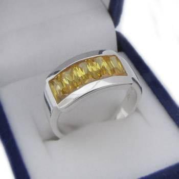 Stříbrný prsten se žlutými kamínky (KPS143)