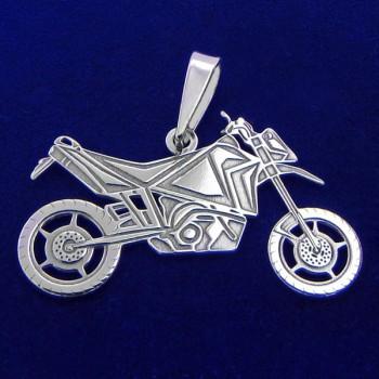 Přívěsek terénní motorka - stříbrný (KPRS047)