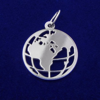 Přívěsek mapa světa - stříbrný (KPRS159)